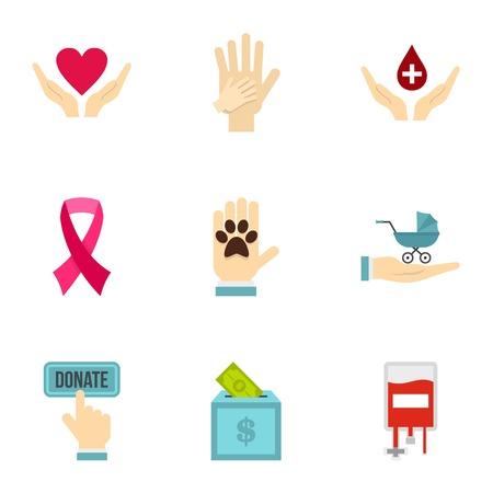 Volunteer center icons set, flat style