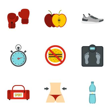 Fitness and diet icons set, flat style Vector Illustration