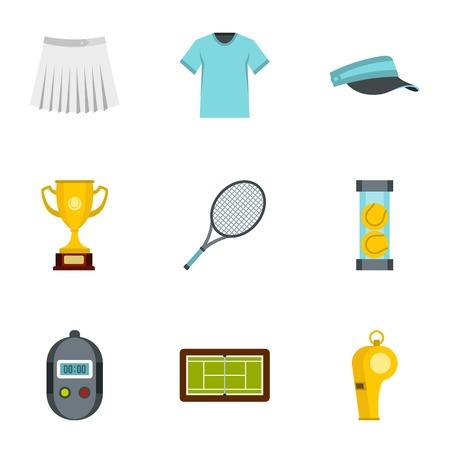Big tennis icons set, flat style Illustration