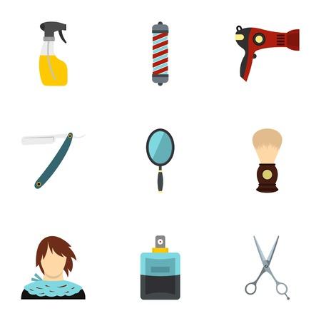 Hairdressing salon icons set, flat style