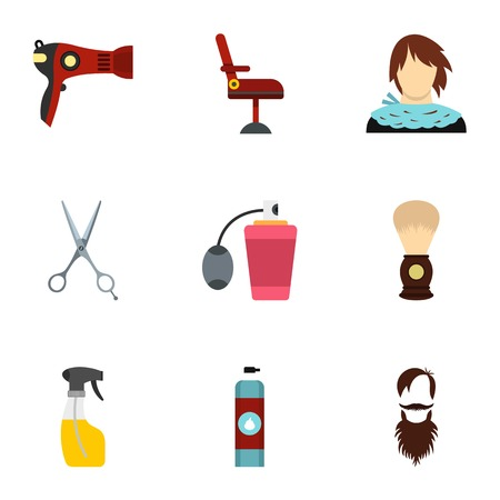 Barbershop icons set, flat style Illustration