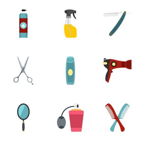 Barber tools icons set, flat style Illustration