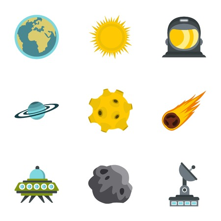 Space elements icons set, flat style