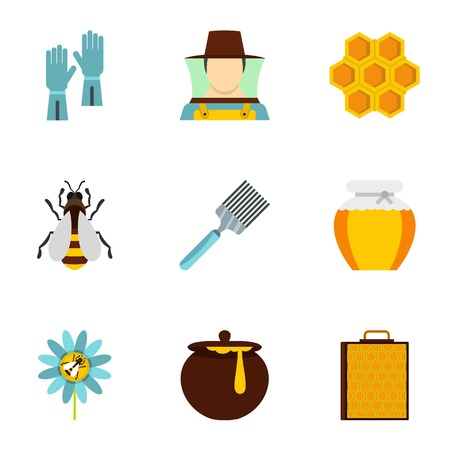 beeswax: Apiary icons set, flat style