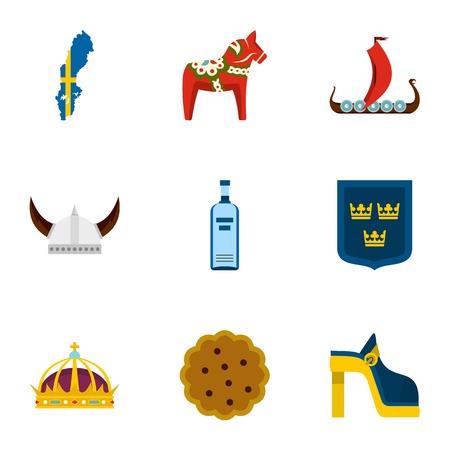 Symbols of Sweden icons set, flat style