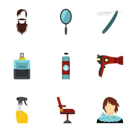 hairdress: Hairdresser icons set, flat style