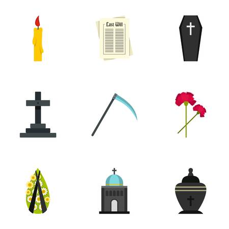 urn: Burial icons set, flat style