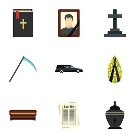 Icone Morte set, stile piatto