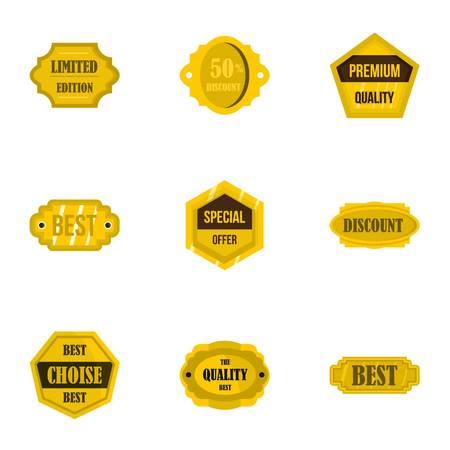 choise: Golden retro badges icons set, flat style