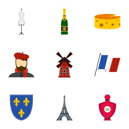 Paris icons set, flat style Illustration