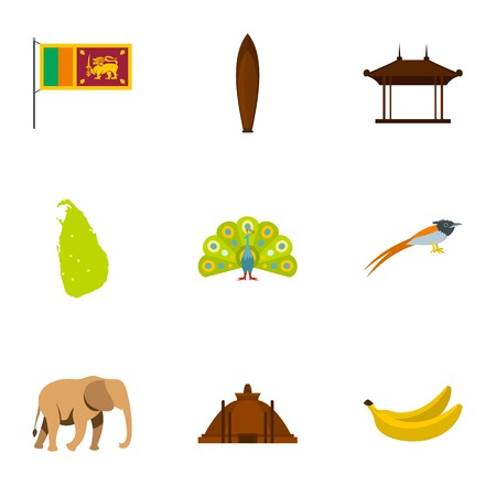 stupa: Travel to Sri Lanka icons set, flat style Illustration