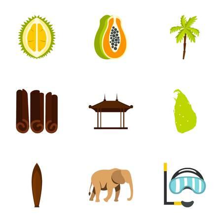 Sri Lanka attractions icons set, flat style