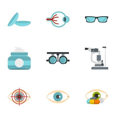 Eye diagnostic icons set, flat style