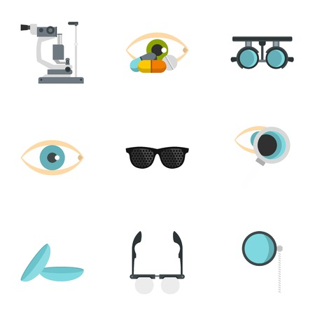 Ophthalmology icons set, flat style