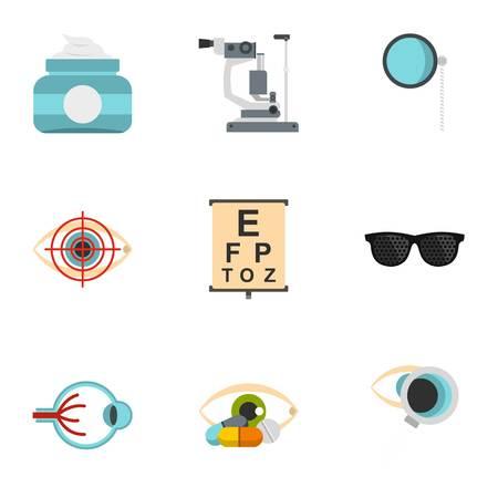 Optical icons set, flat style