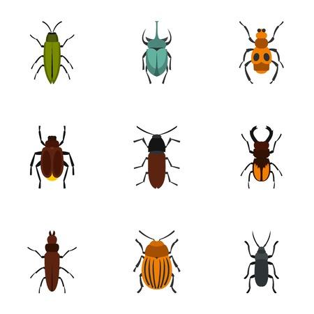 Nature beetle icons set, flat style