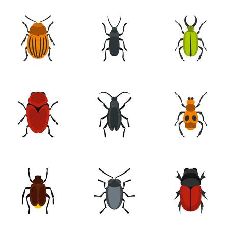 Bug-Icons Set, flache Stil