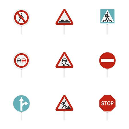 Road sign icons set, flat style