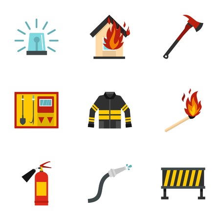Firefighter icons set, flat style