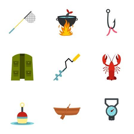 Fisher icons set, flat style Illustration