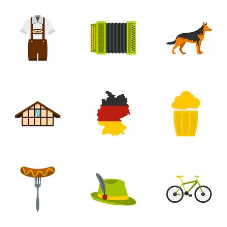 germanic people: Welcome to Germany icons set, flat style