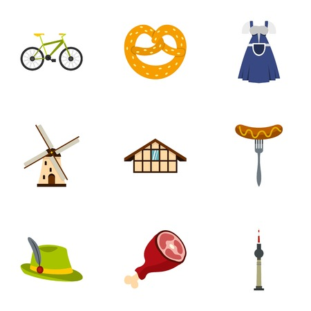 germanic: Culture features of Germany icons set, flat style Illustration