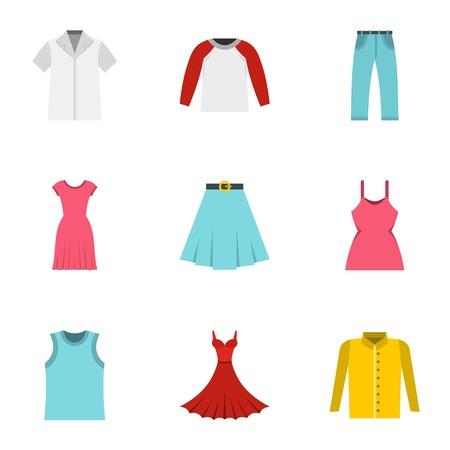 Wardrobe icons set, flat style Illustration