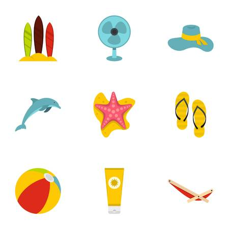 Summer relax and beach icons set, flat style