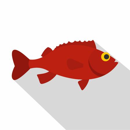 Red betta fish icon, flat style