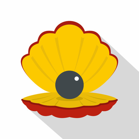 Black pearl in a sea shell icon, flat style