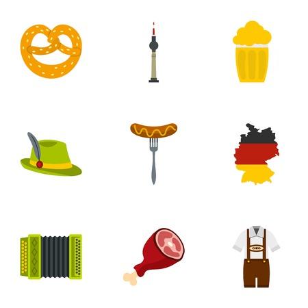 Oktoberfest festival icons set, flat style