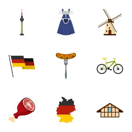 germanic: Germany elements icons set, flat style
