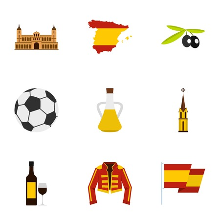 Culture features of Spain icons set, flat style Illustration