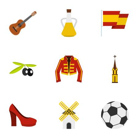 madrid spain: Spanish culture symbols icons set, flat style Illustration