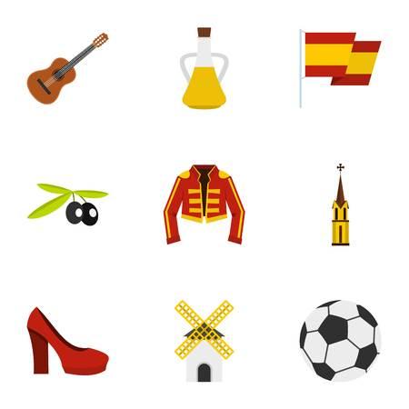 Spanish culture symbols icons set, flat style Illustration