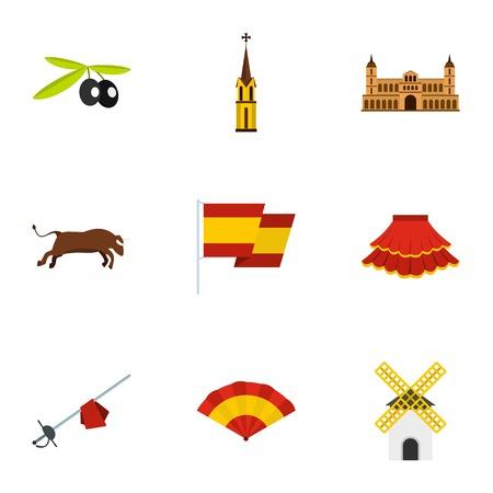 Spain travel icons set, flat style
