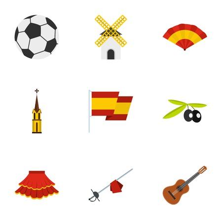 Sights of Spain icons set, flat style Illustration