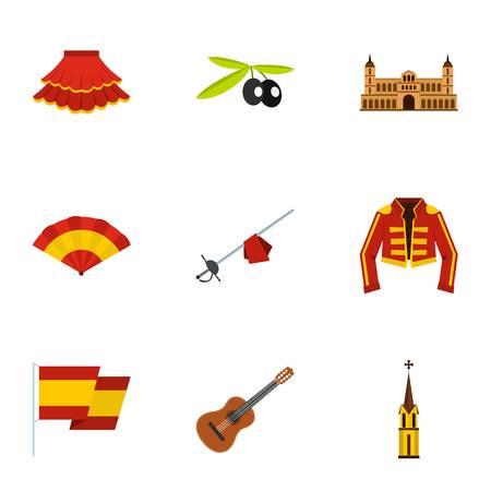 Spanish elements icons set, flat style