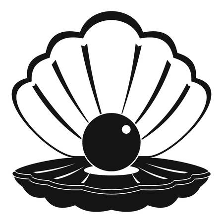 Pearl in a sea shell icon, simple style Illustration