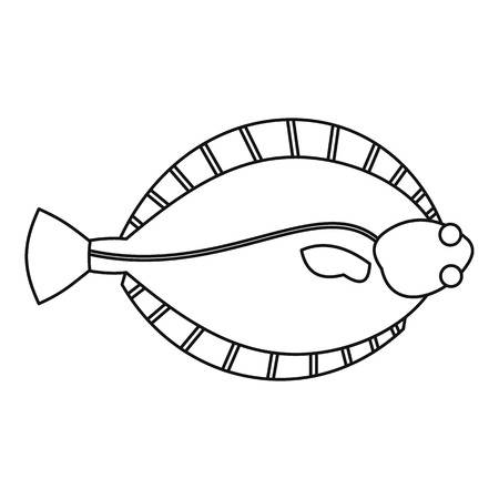 plaice: Flatfish icon, outline style Illustration