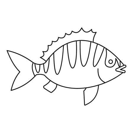 coldblooded: Perca fluviatilis icon, outline style Illustration