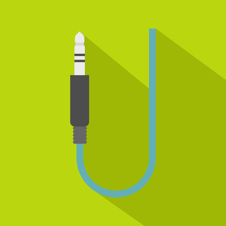 Microphone wire icon, flat style Illustration