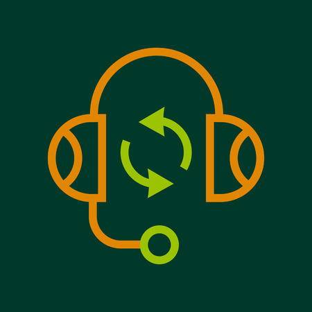 pronunciation in letters: Listening icon, outline style Illustration