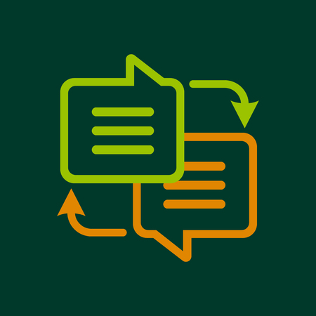 pronunciation in letters: Writing translation icon, outline style