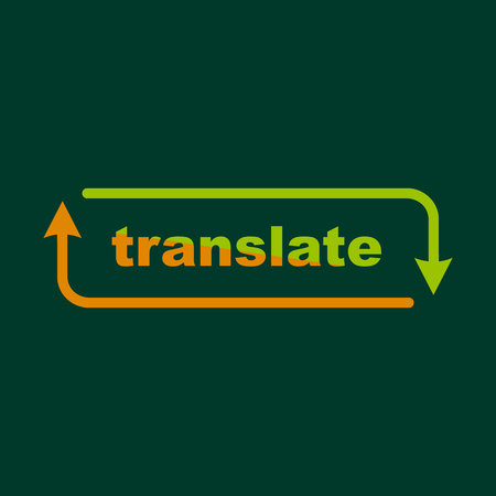 pronunciation in letters: Translation icon, outline style Illustration