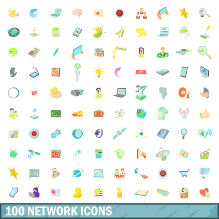 processing speed: 100 network icons set in cartoon style for any design vector illustration