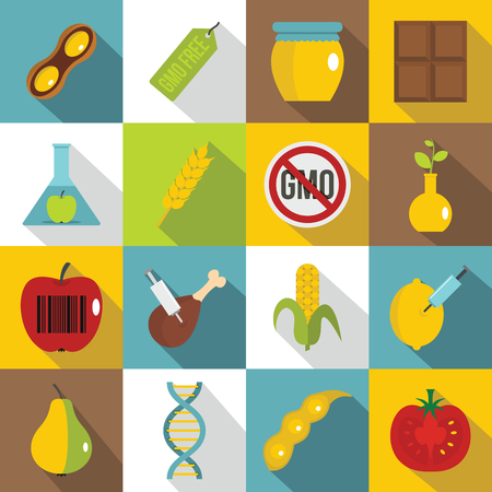 soy free: GMO icons set food. Flat illustration of 16 GMO food vector icons for web