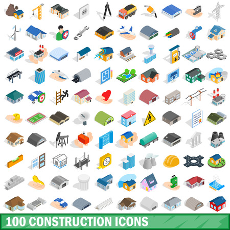 100 建設アイコンを設定、等角投影の 3d スタイル