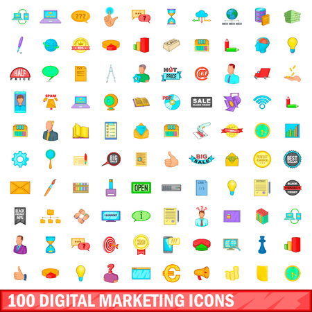digital marketing: 100 digital marketing icons set, cartoon style