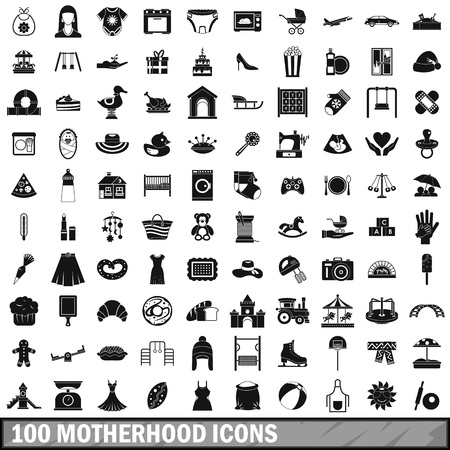 home birth: 100 motherhood icons set in simple style for any design vector illustration